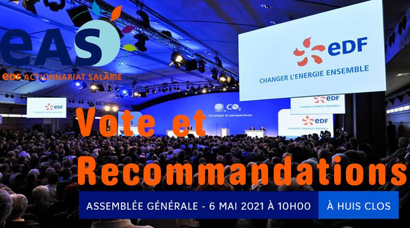 Recommandations de vote EAS à l'Assemblée Générale des actionnaires d'EDF 2021